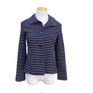 Talbots Nautical Stripe Navy Blazer